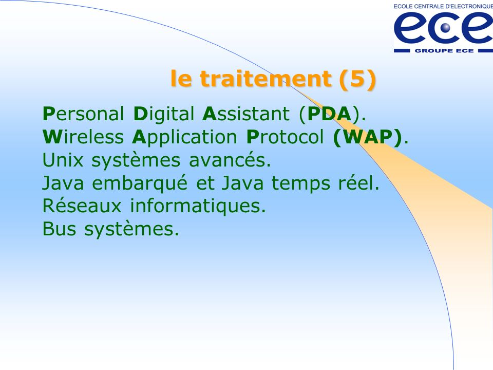 le traitement (5) Personal Digital Assistant (PDA).