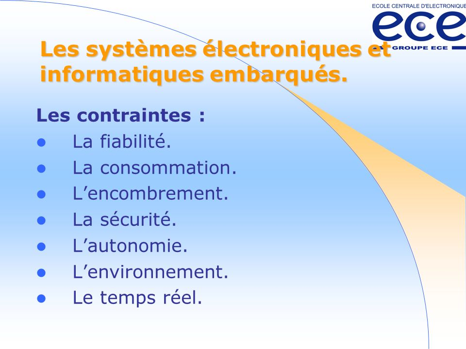 Les systèmes électroniques et informatiques embarqués.