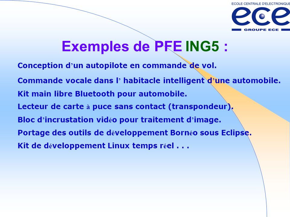 Exemples de PFE ING5 : Conception d'un autopilote en commande de vol.