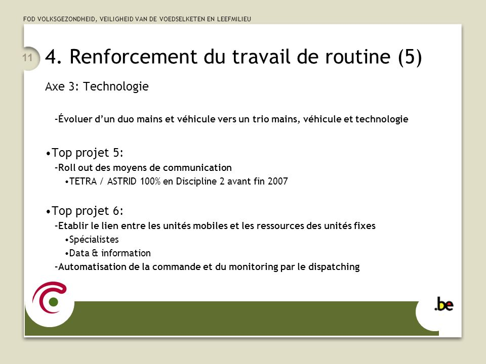 4. Renforcement du travail de routine (5)