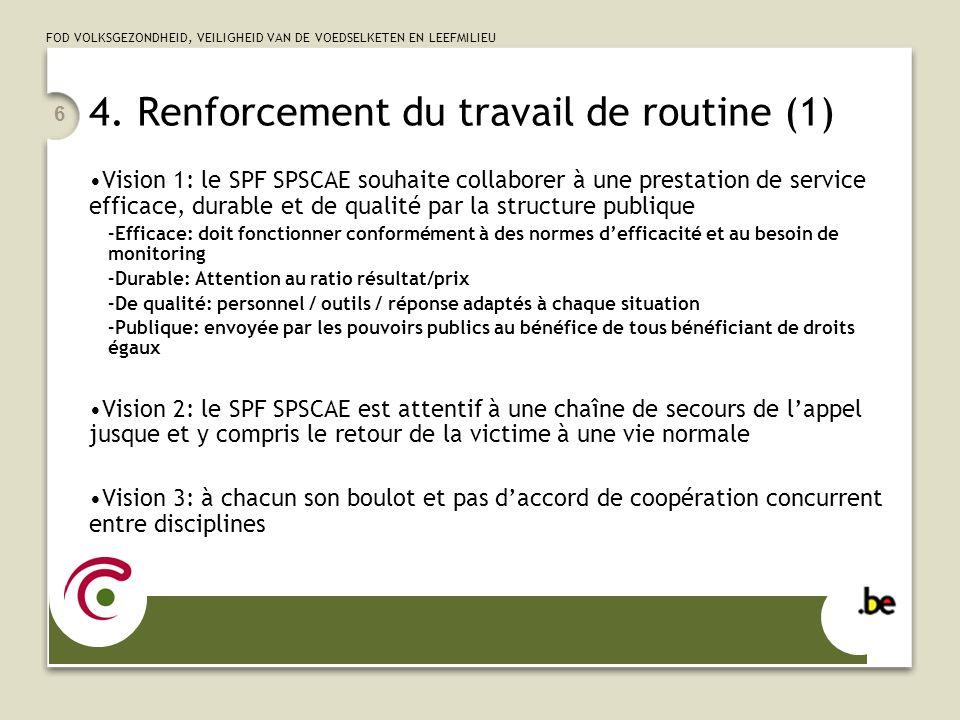4. Renforcement du travail de routine (1)