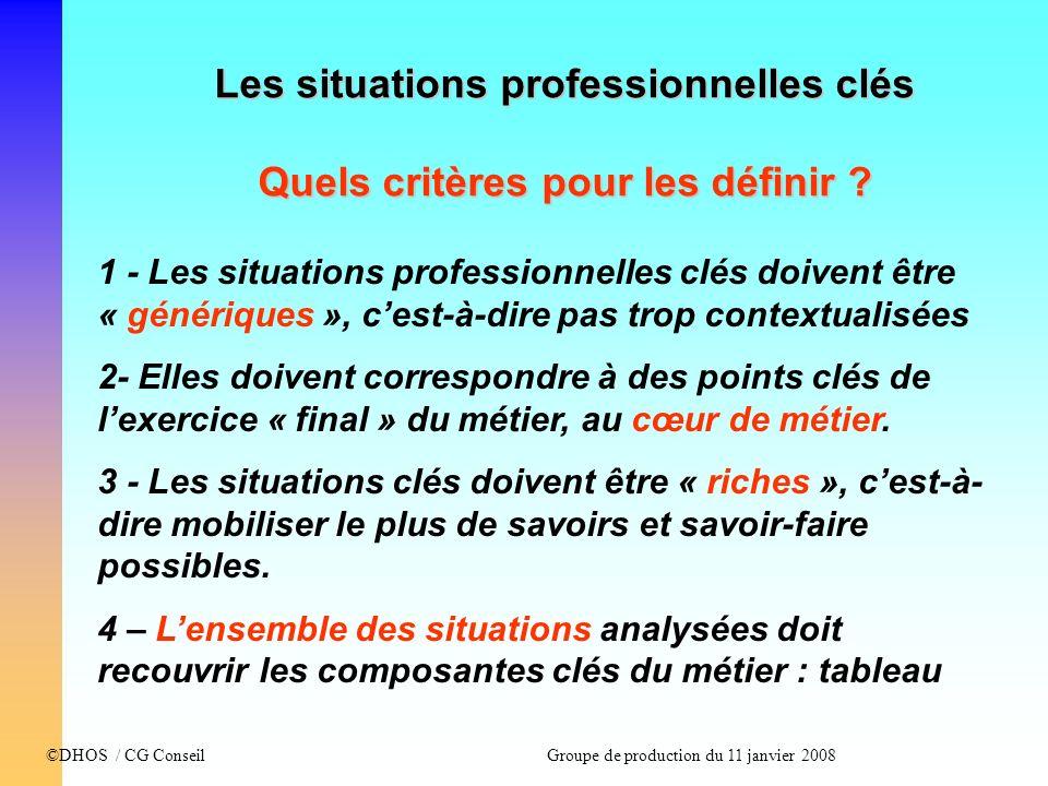 Les situations professionnelles clés Quels critères pour les définir