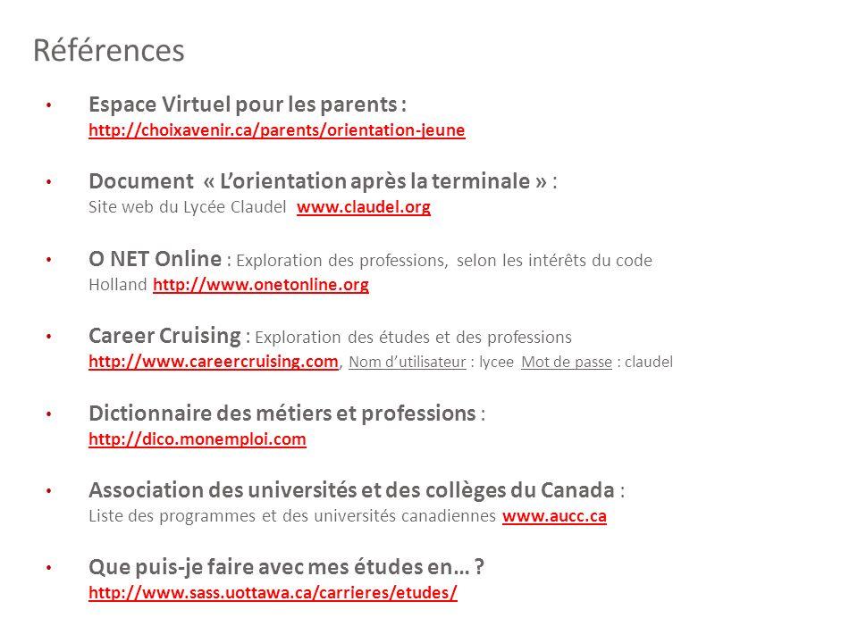 Références Espace Virtuel pour les parents : http://choixavenir.ca/parents/orientation-jeune.