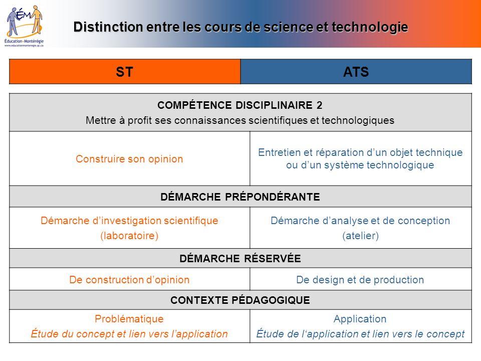 Distinction entre les cours de science et technologie ST ATS