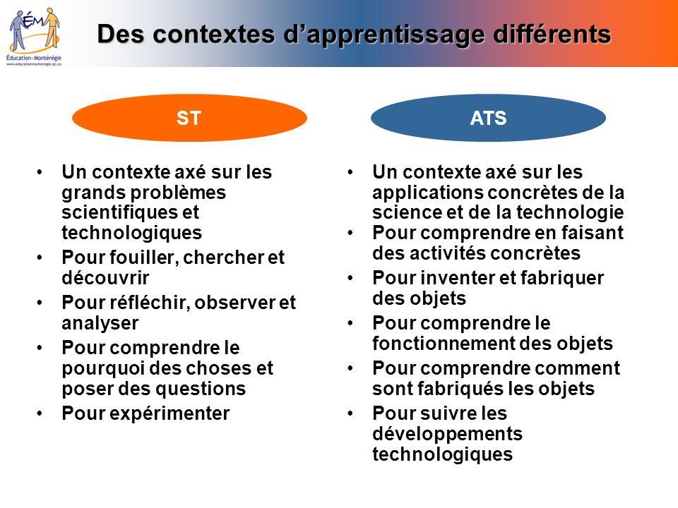 Des contextes d'apprentissage différents