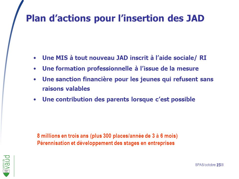 Plan d'actions pour l'insertion des JAD