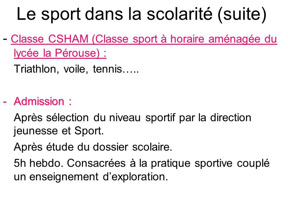 Le sport dans la scolarité (suite)