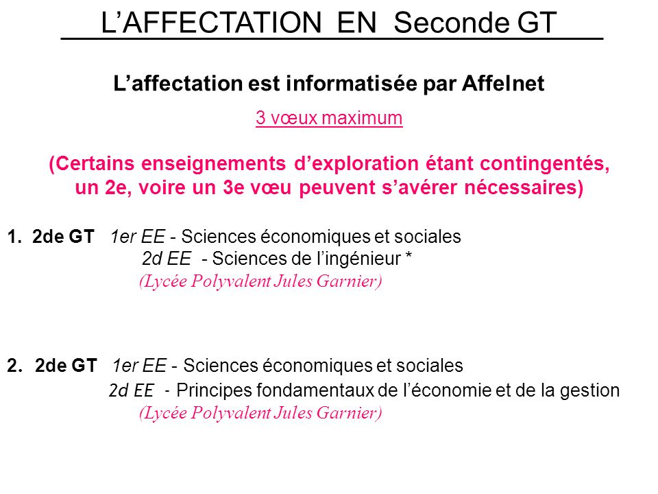 L'AFFECTATION EN Seconde GT