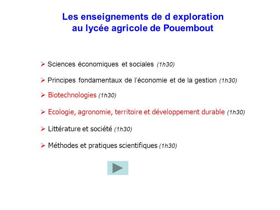 Les enseignements de d exploration au lycée agricole de Pouembout