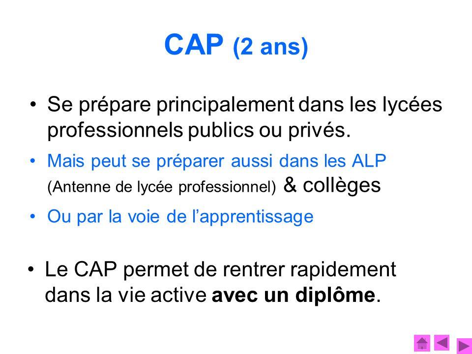 CAP (2 ans) Se prépare principalement dans les lycées professionnels publics ou privés.