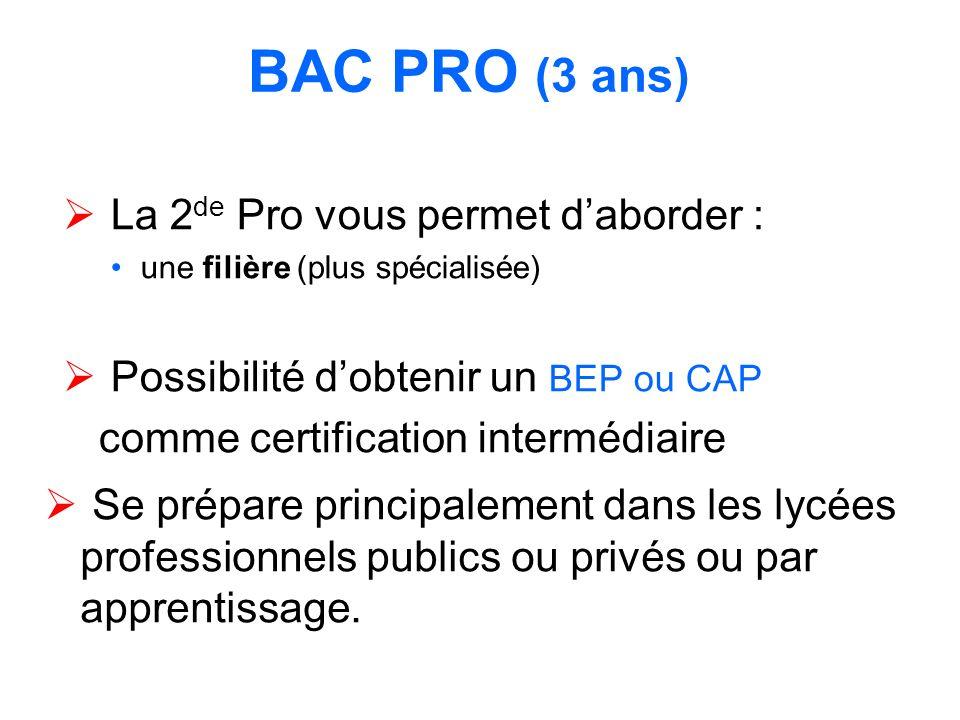BAC PRO (3 ans) La 2de Pro vous permet d'aborder :