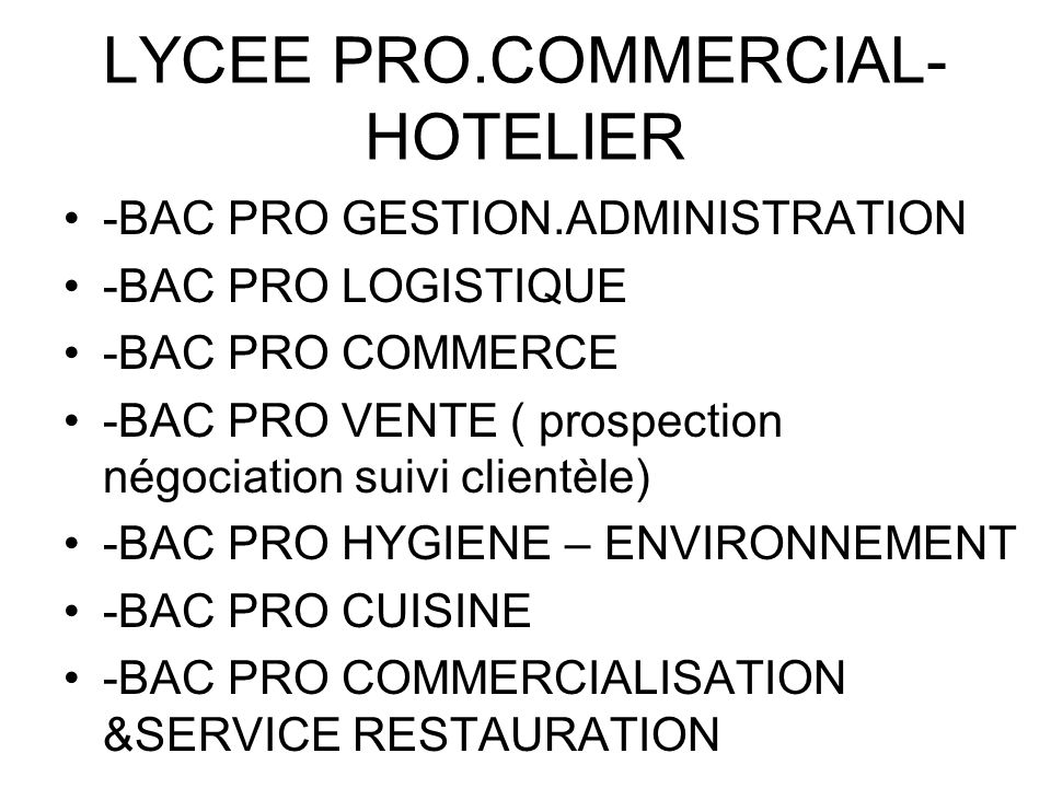 LYCEE PRO.COMMERCIAL- HOTELIER