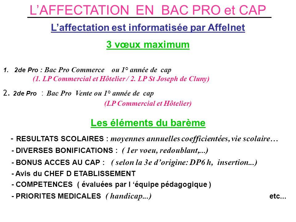 L'AFFECTATION EN BAC PRO et CAP