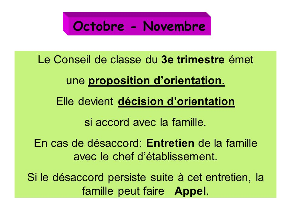 Octobre - Novembre Le Conseil de classe du 3e trimestre émet