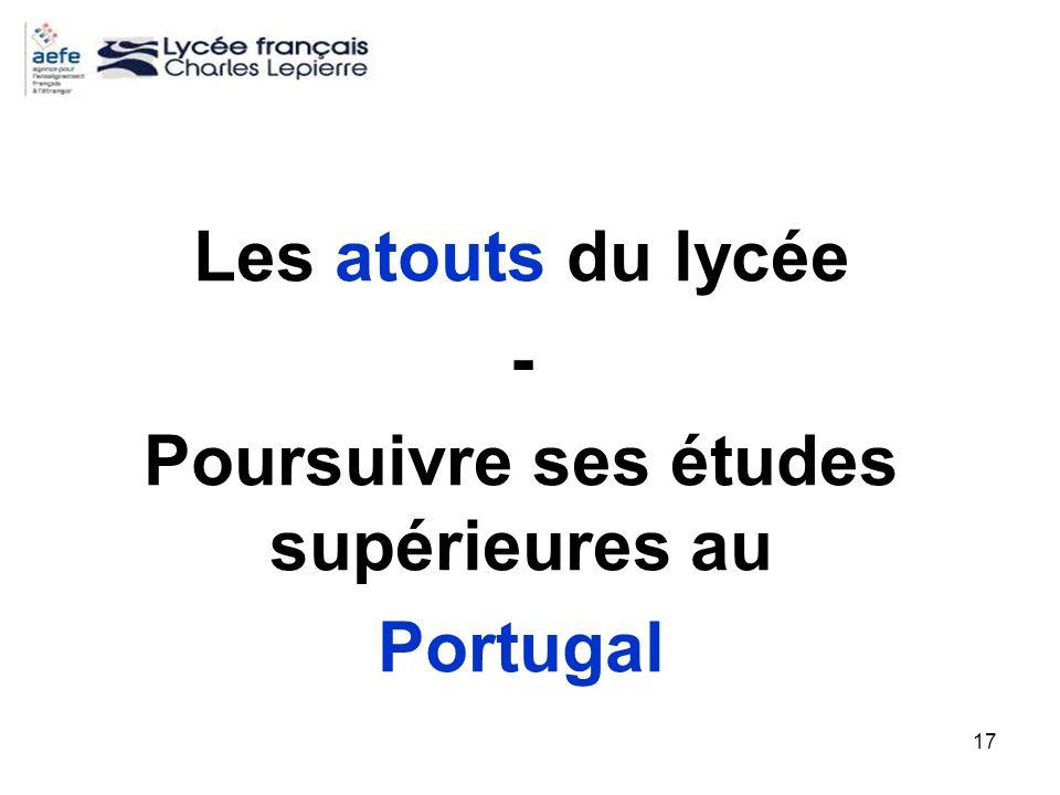 Les atouts du lycée - Poursuivre ses études supérieures au Portugal
