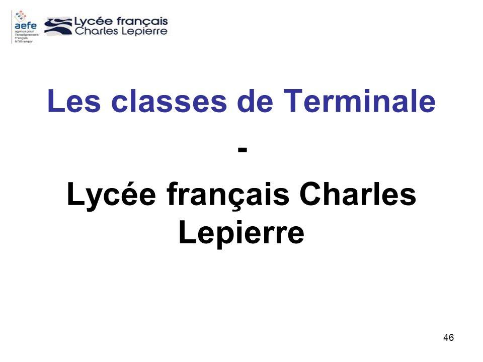 Les classes de Terminale - Lycée français Charles Lepierre