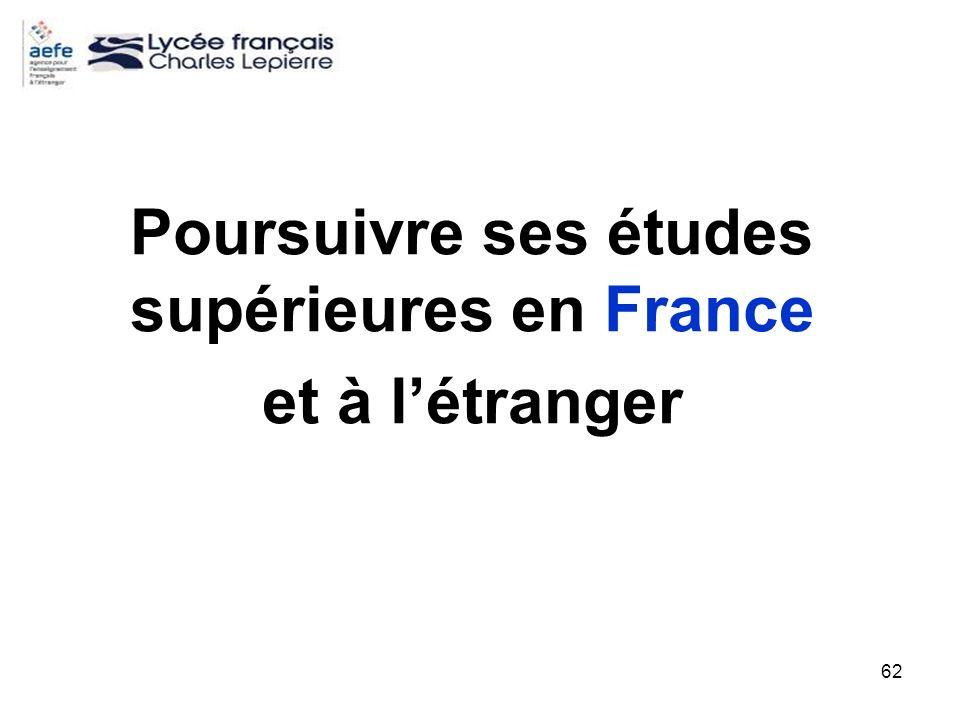 Poursuivre ses études supérieures en France et à l'étranger