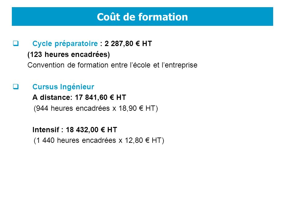 Coût de formation Cycle préparatoire : 2 287,80 € HT
