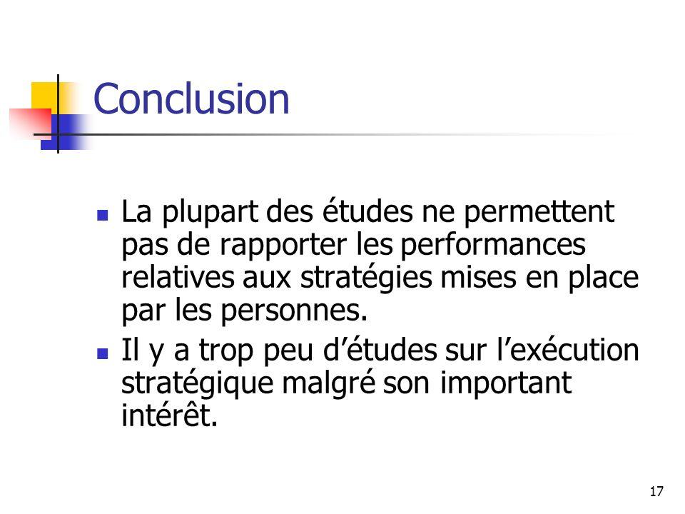 Conclusion La plupart des études ne permettent pas de rapporter les performances relatives aux stratégies mises en place par les personnes.