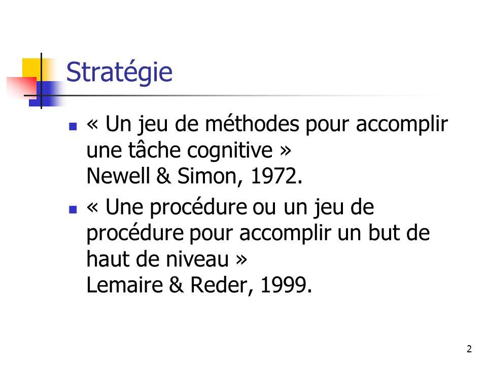 Stratégie « Un jeu de méthodes pour accomplir une tâche cognitive » Newell & Simon, 1972.