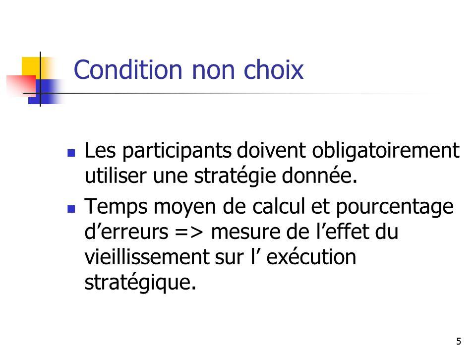Condition non choix Les participants doivent obligatoirement utiliser une stratégie donnée.