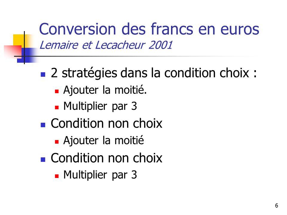 Conversion des francs en euros Lemaire et Lecacheur 2001