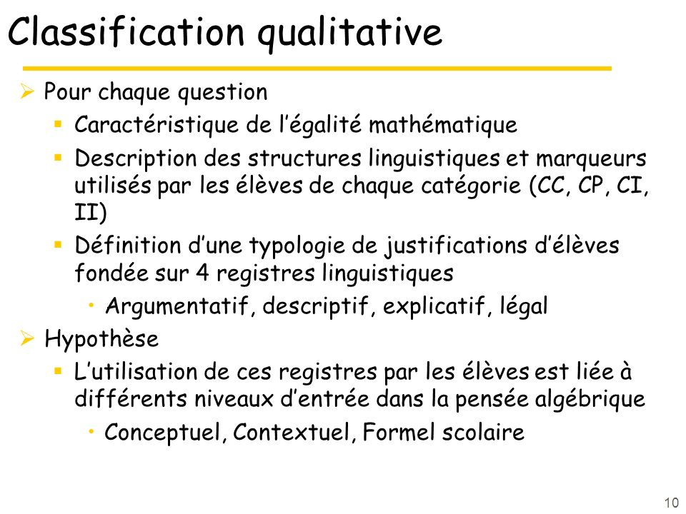 Classification qualitative