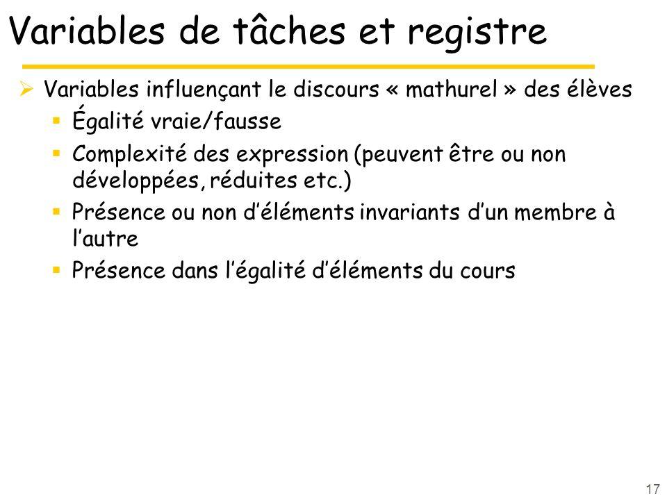 Variables de tâches et registre