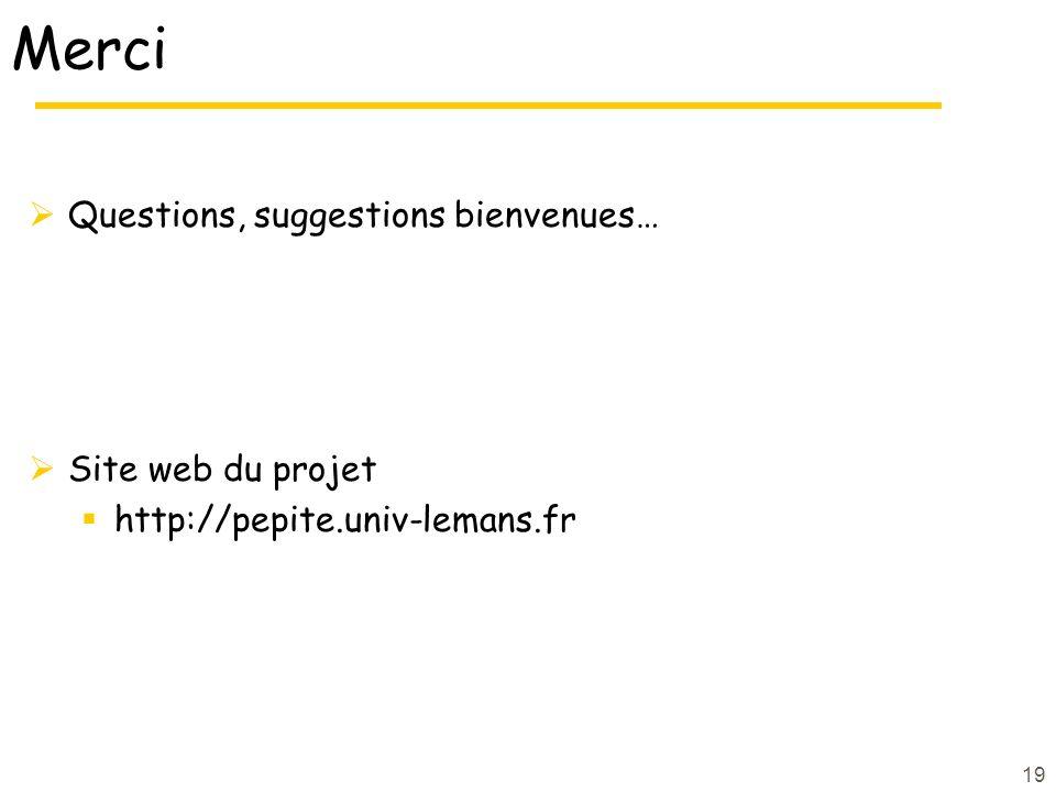 Merci Questions, suggestions bienvenues… Site web du projet