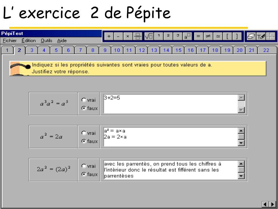 L' exercice 2 de Pépite Type de tâche Consignes