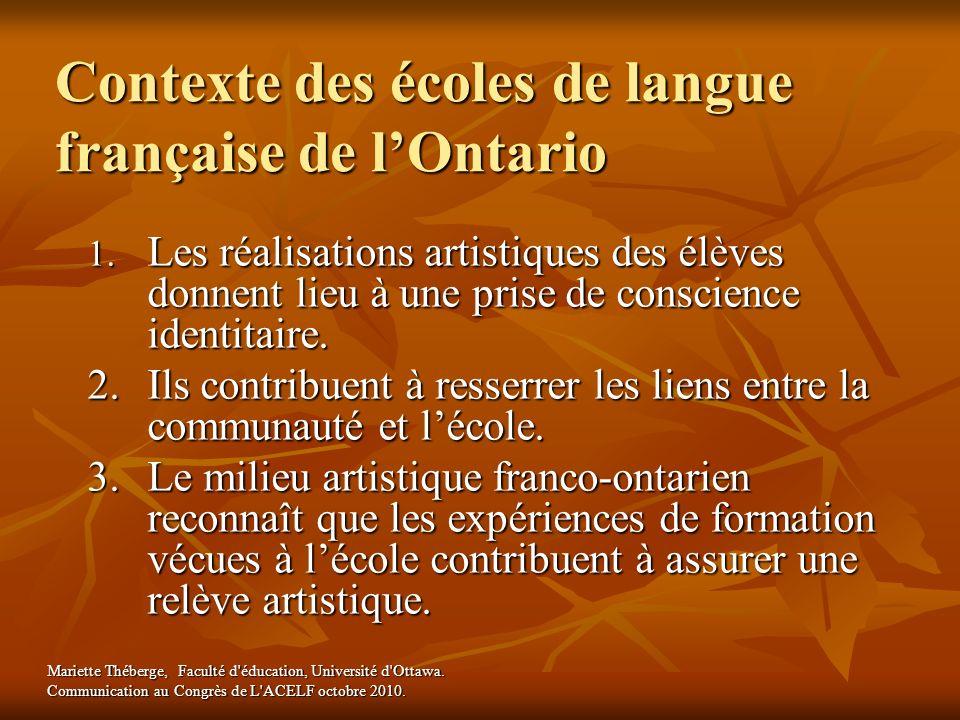Contexte des écoles de langue française de l'Ontario