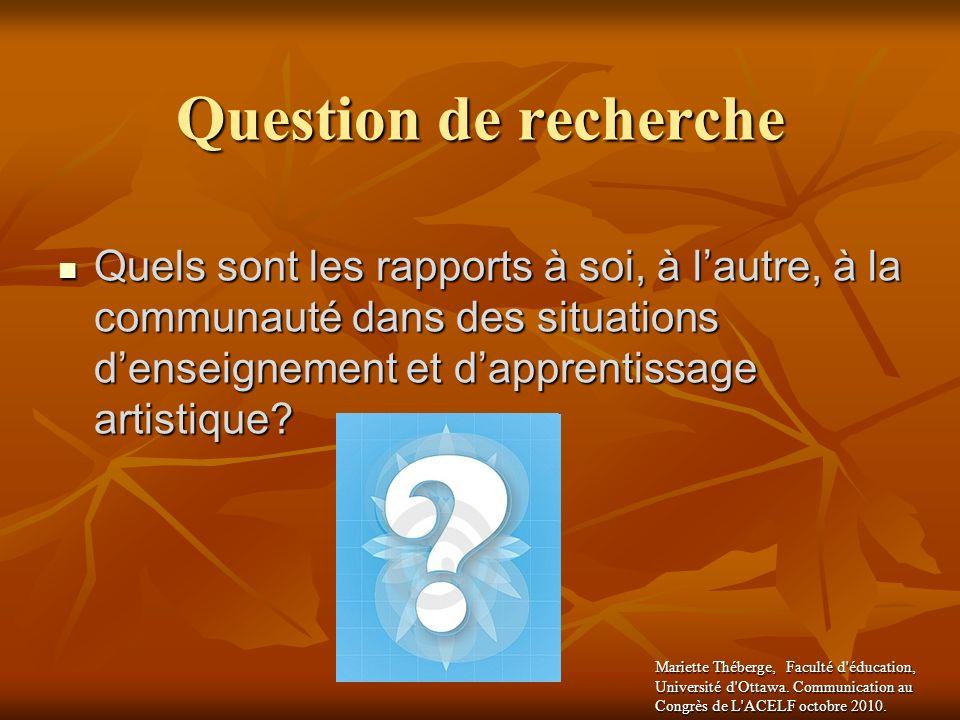 Question de recherche Quels sont les rapports à soi, à l'autre, à la communauté dans des situations d'enseignement et d'apprentissage artistique