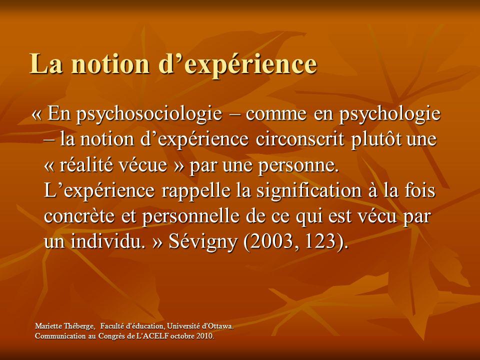 La notion d'expérience