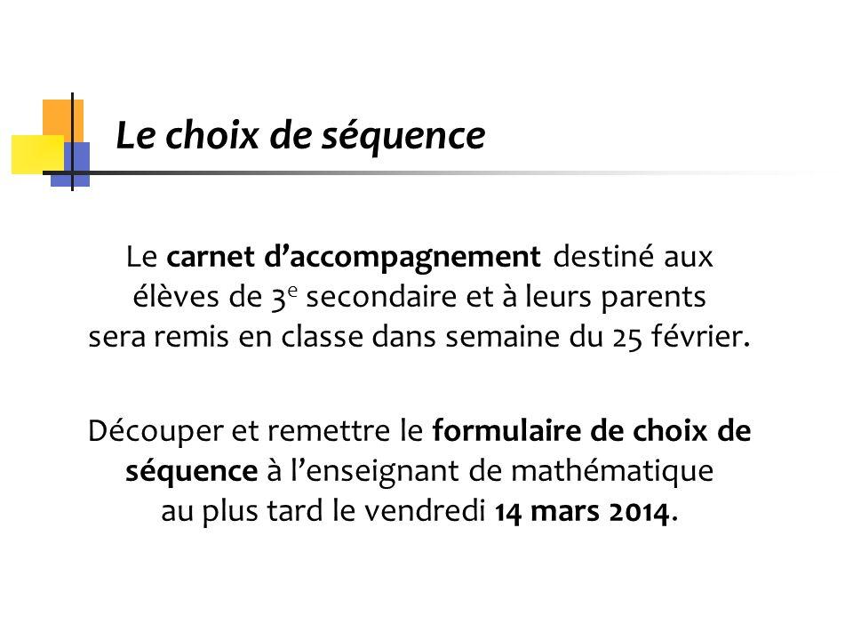 Présentation des séquences en mathématique (4e et 5e secondaire)