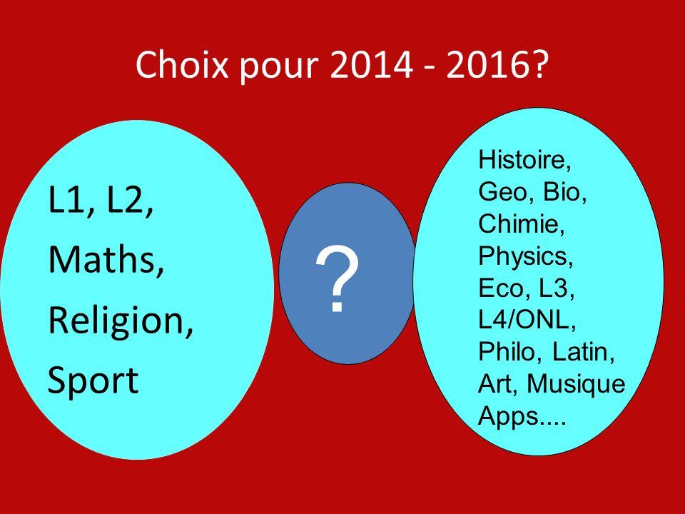 Choix pour 2014 - 2016 L1, L2, Maths, Religion, Sport