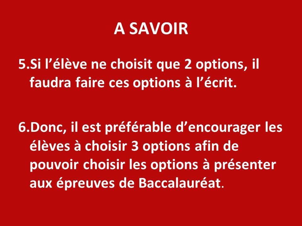 A SAVOIR 5.Si l'élève ne choisit que 2 options, il faudra faire ces options à l'écrit.