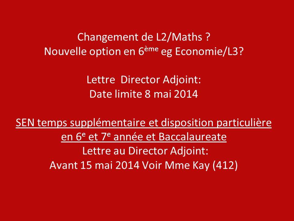 Changement de L2/Maths. Nouvelle option en 6ème eg Economie/L3
