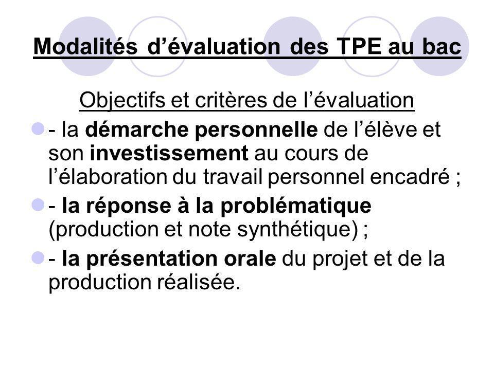 Modalités d'évaluation des TPE au bac