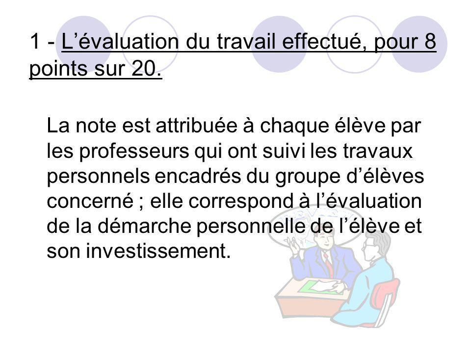 1 - L'évaluation du travail effectué, pour 8 points sur 20.