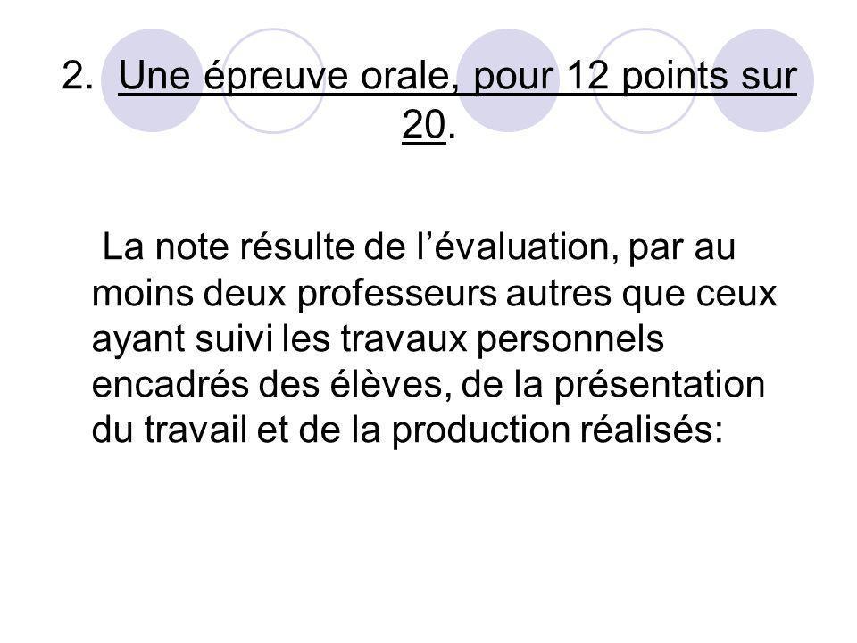 2. Une épreuve orale, pour 12 points sur 20.