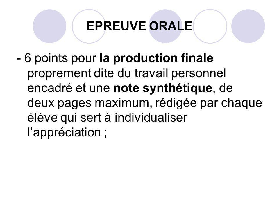 EPREUVE ORALE