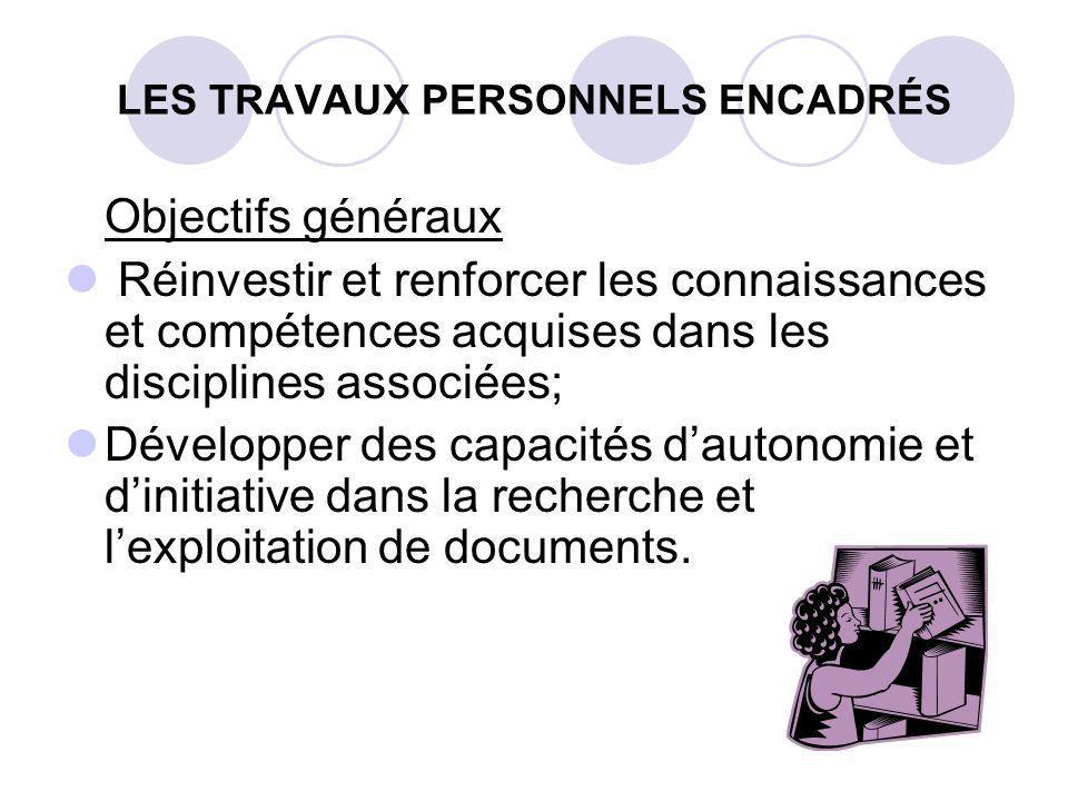 LES TRAVAUX PERSONNELS ENCADRÉS