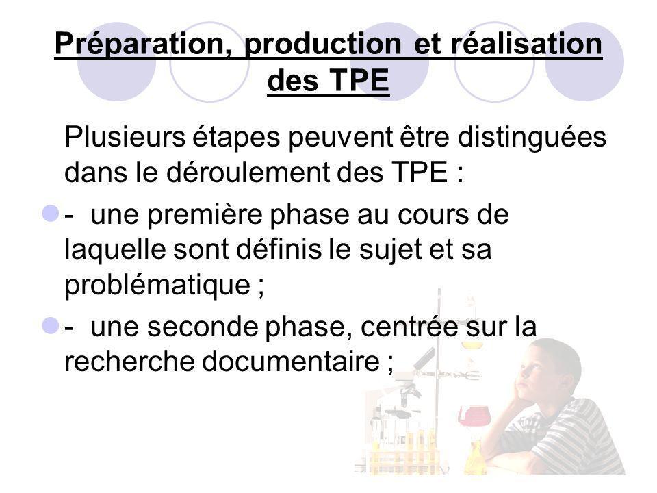 Préparation, production et réalisation des TPE