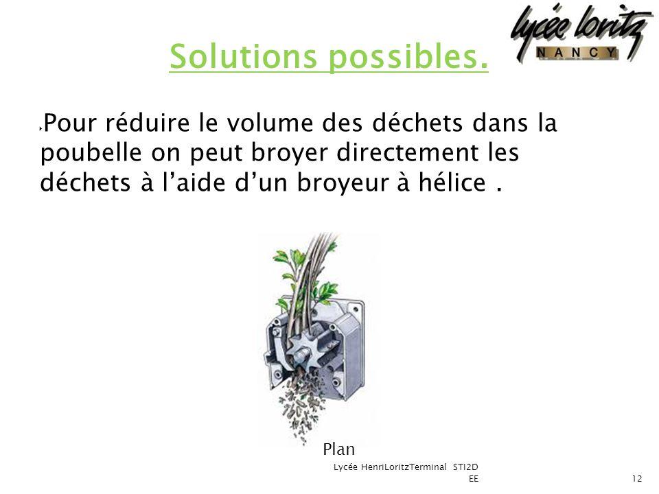 Solutions possibles. Pour réduire le volume des déchets dans la poubelle on peut broyer directement les déchets à l'aide d'un broyeur à hélice .