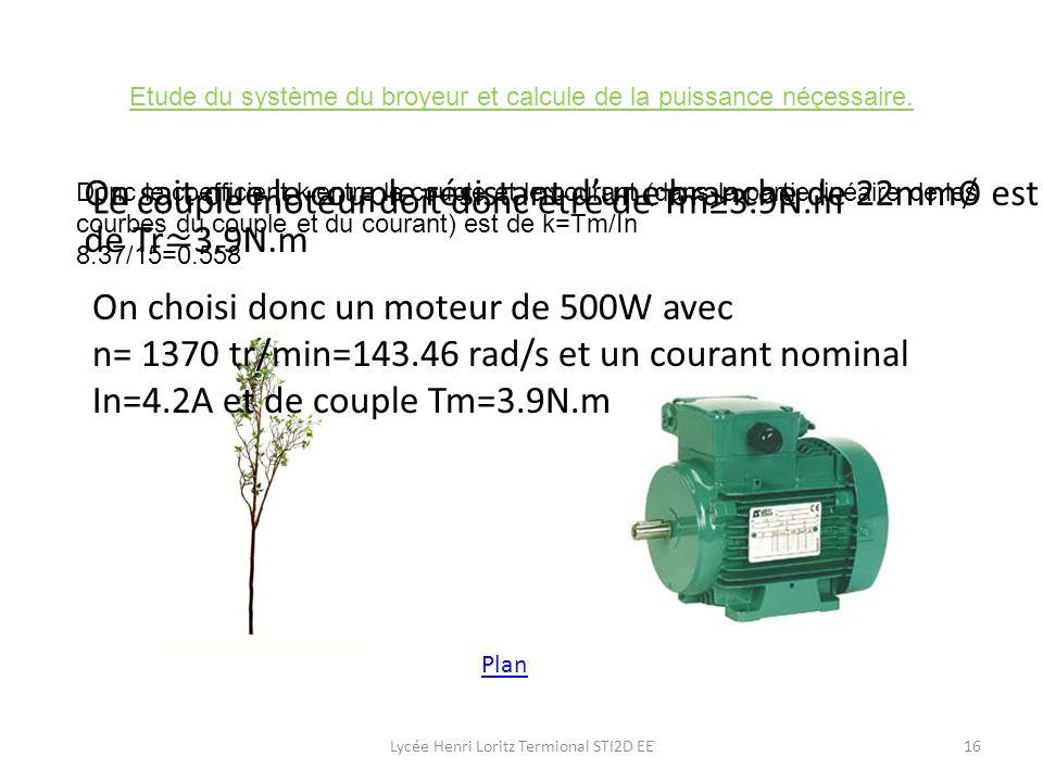 Etude du système du broyeur et calcule de la puissance néçessaire.