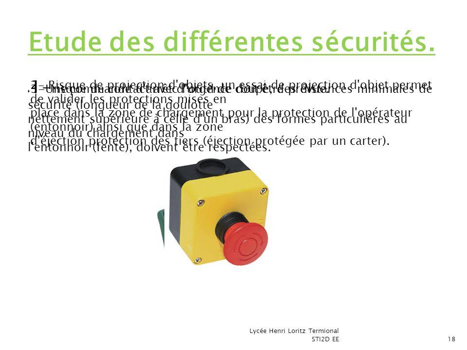 Etude des différentes sécurités.