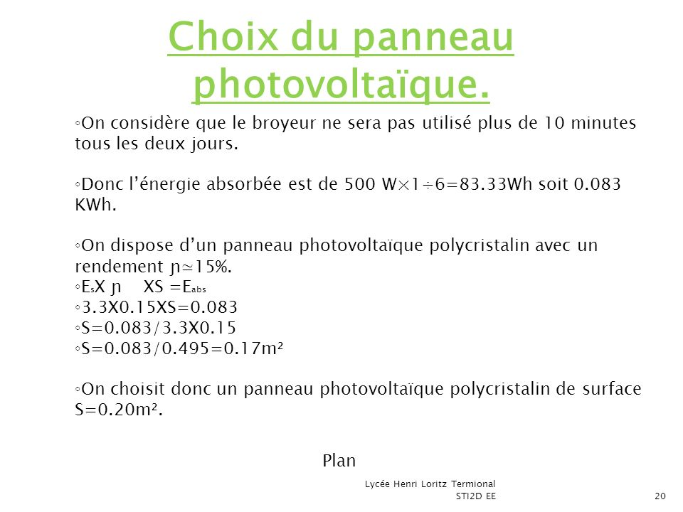 Choix du panneau photovoltaïque.