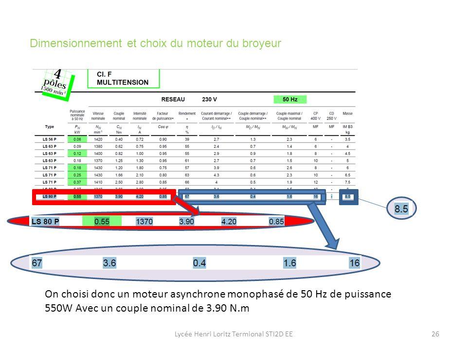 Dimensionnement et choix du moteur du broyeur