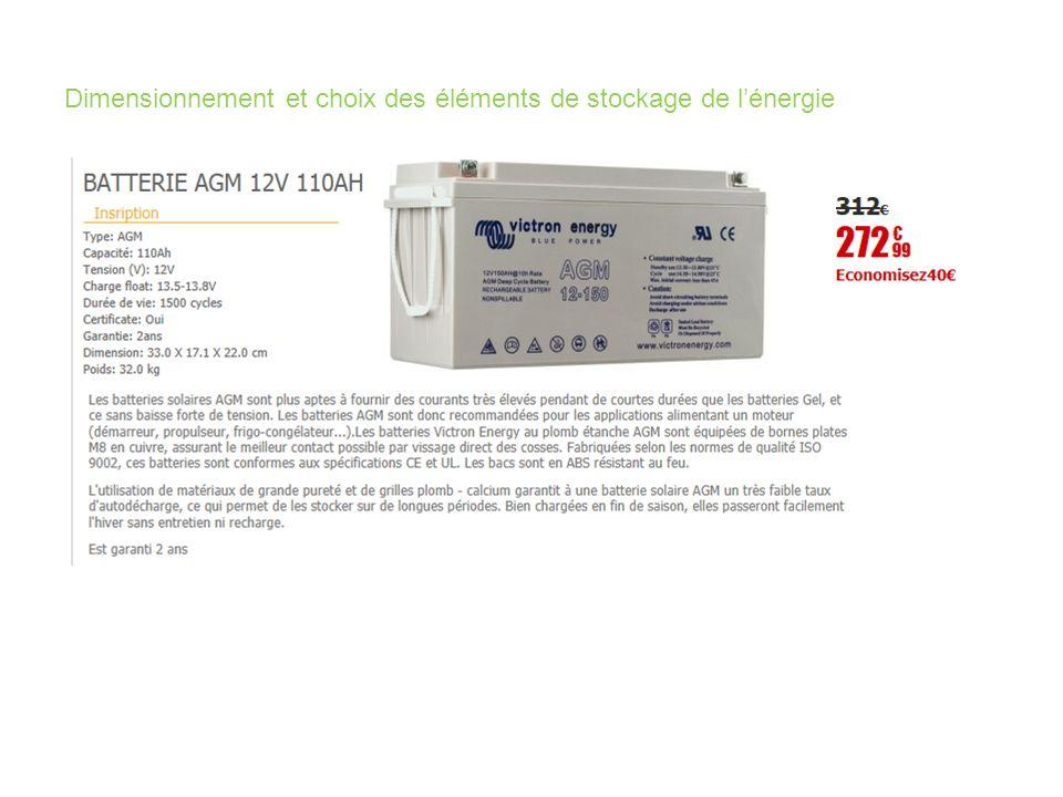 Dimensionnement et choix des éléments de stockage de l'énergie