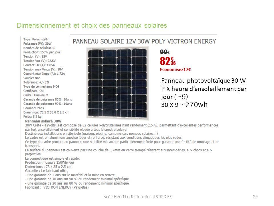 Dimensionnement et choix des panneaux solaires